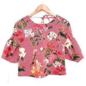 Zara Red Striped Floral Top W Bell Sleeves XS